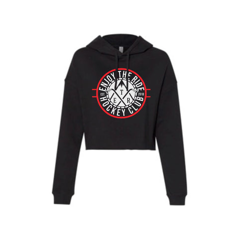 Ladies Black Cropped Hoodie