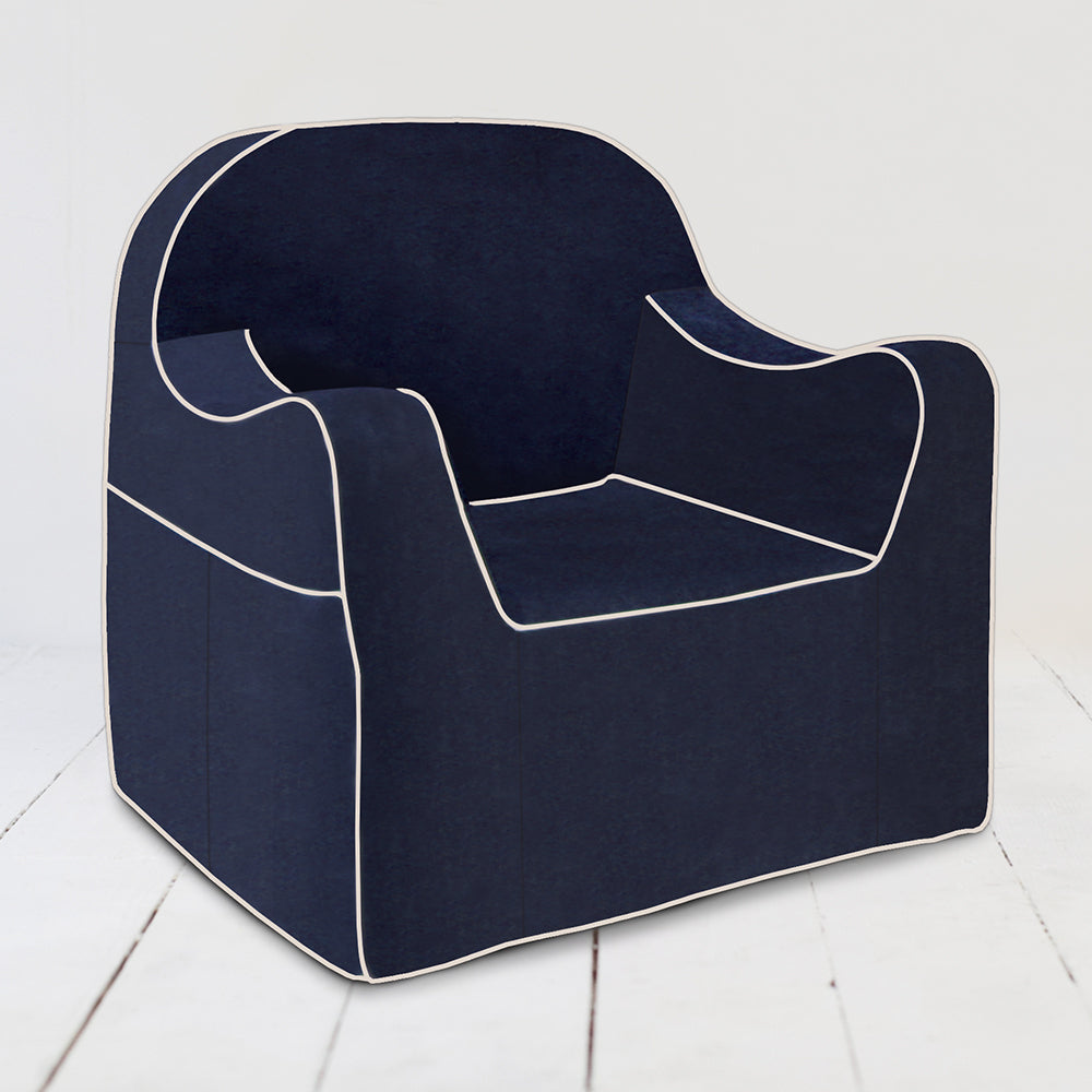 Outstanding Reader Chair Navy Blue With White Piping Dailytribune Chair Design For Home Dailytribuneorg