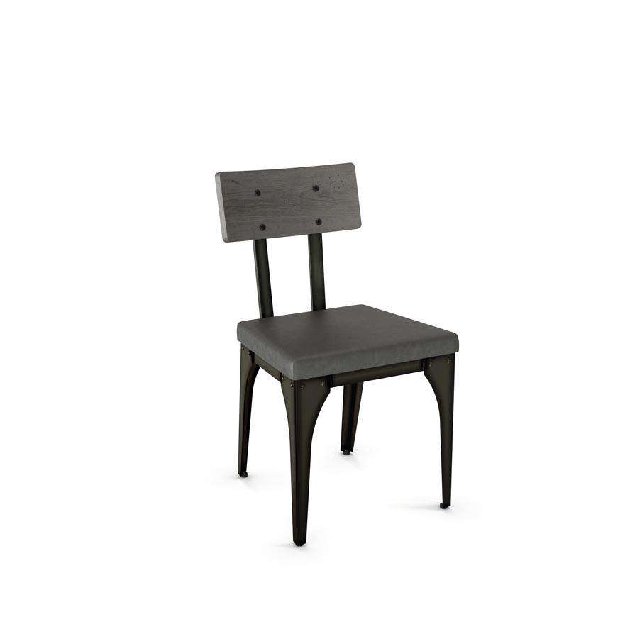 Architect Dining Chair with Upholstered Seat and Distressed Solid Wood Backrest