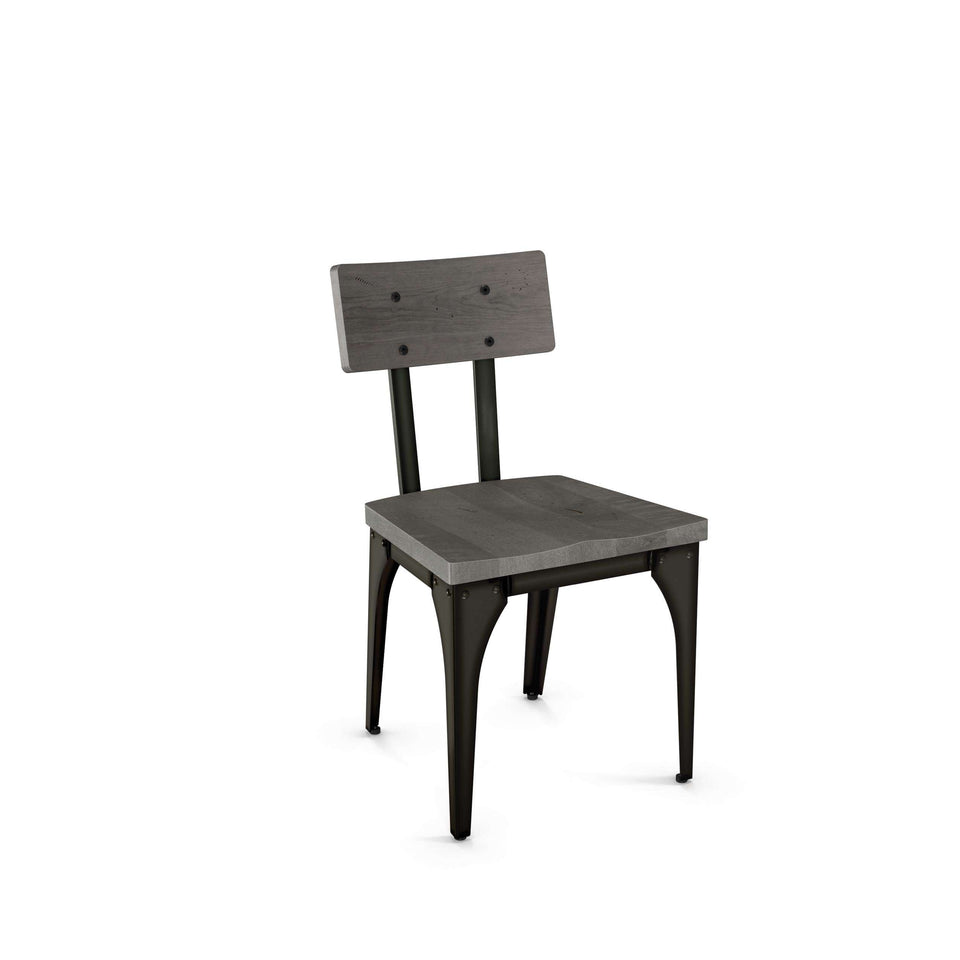 Architect Dining Chair with Distressed Solid Wood Seat and Backrest