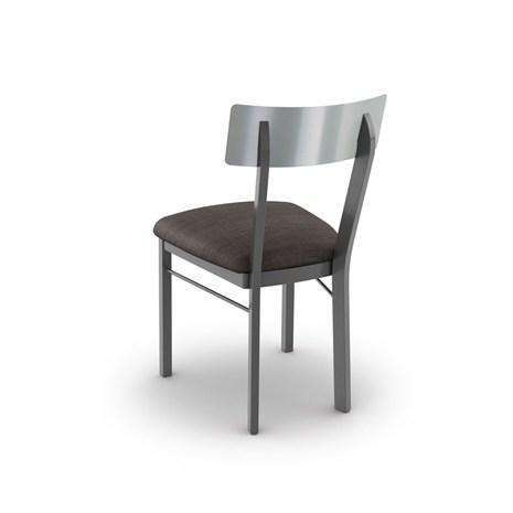 Lauren Dining Chair with Stainless Steel Backrest and Upholstered Seat by Amisco