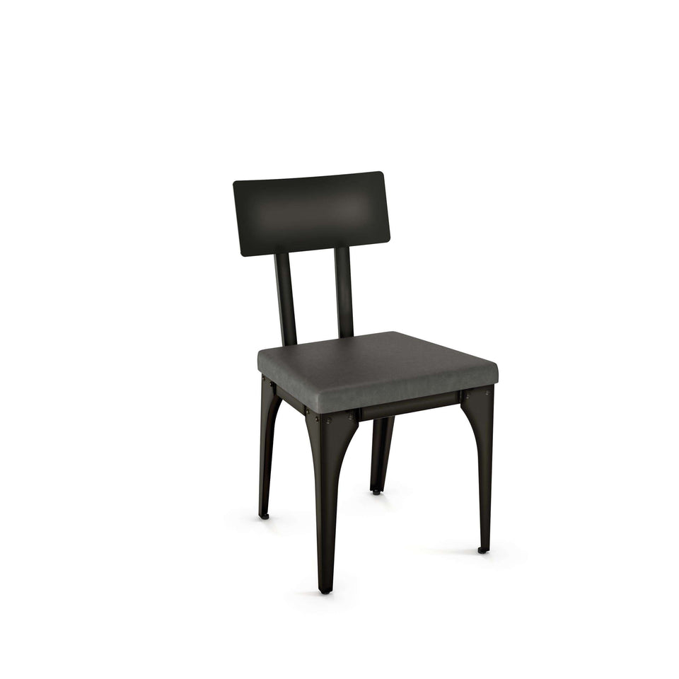 Architect Dining Chair with Upholstered Seat and Metal Backrest