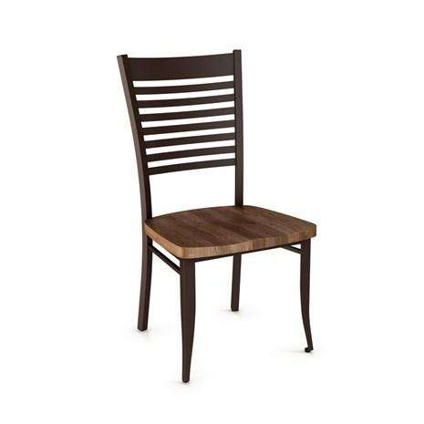Edwin Dining Chair with Metal Frame and Distressed Solid Wood Seat by Amisco