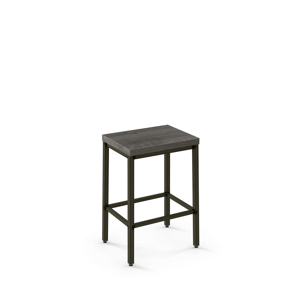 Amisco Bradley Non Swivel Counter Stool with Distressed Solid Wood Seat