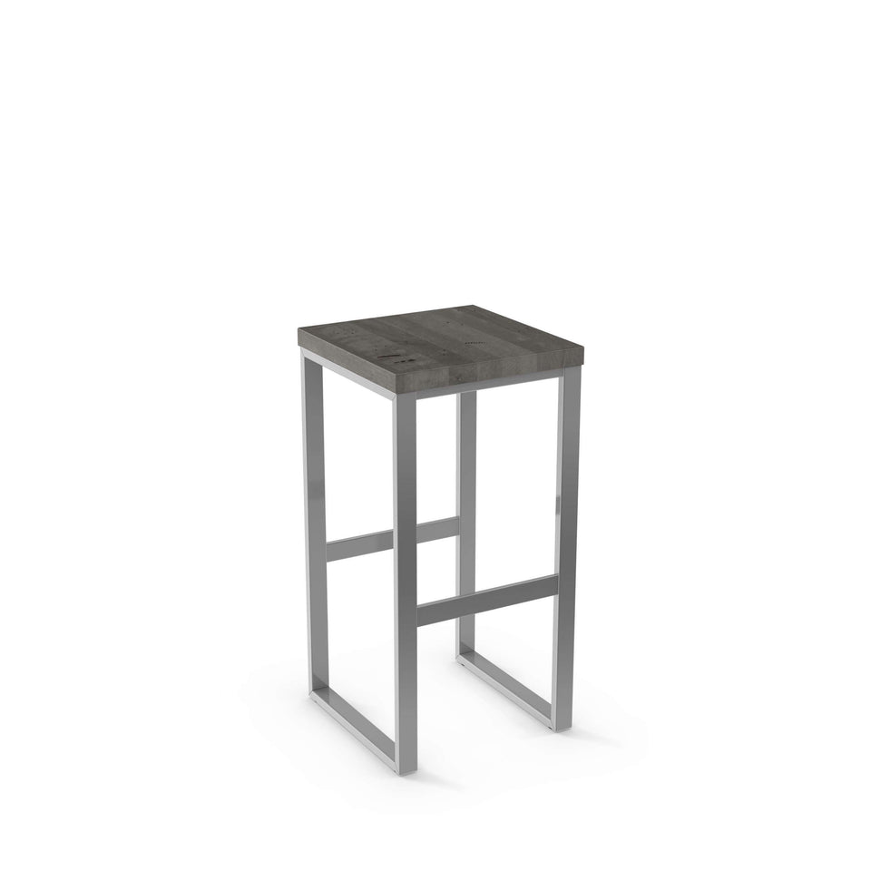 Aaron Bar Stool - Amisco Non Swivel Solid Wood Seat
