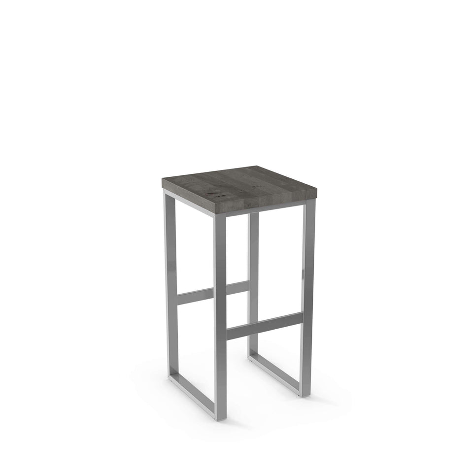 Aaron Counter Stool - Amisco Non Swivel Solid Wood Seat