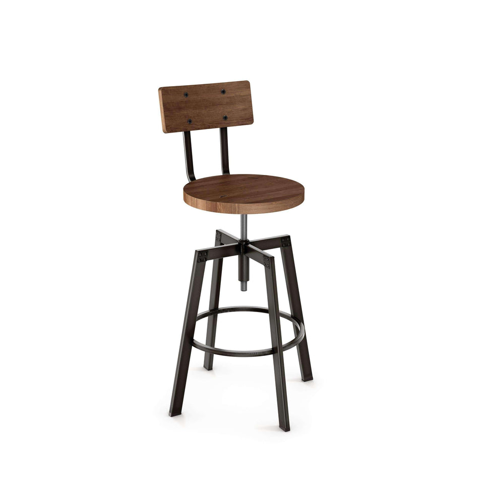 Amisco Architect Adjustable Stool with Distressed Solid Wood Seat and Backrest