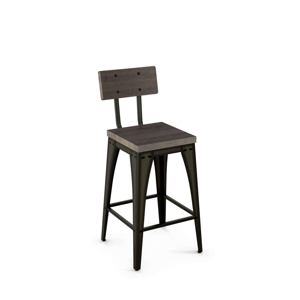 Upright Non Swivel Counter Stool with Distressed Solid Wood Seat and Backrest