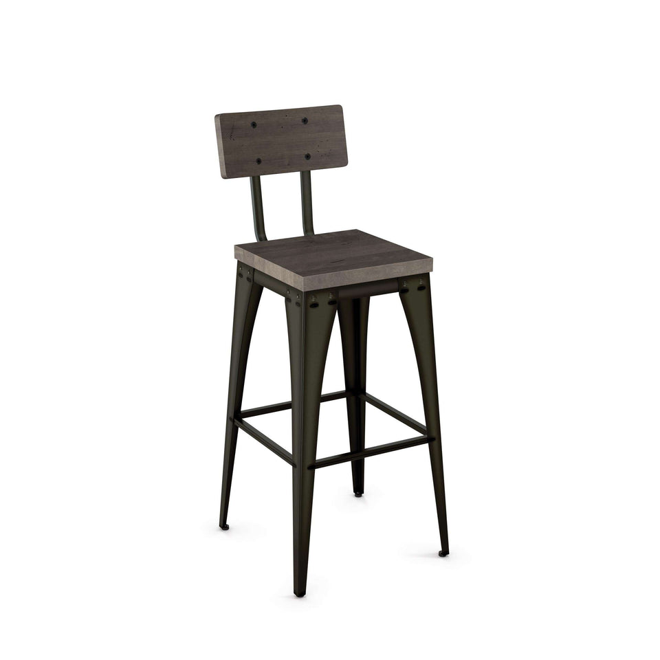 Upright Non Swivel Bar Stool with Distressed Solid Wood Seat and Backrest