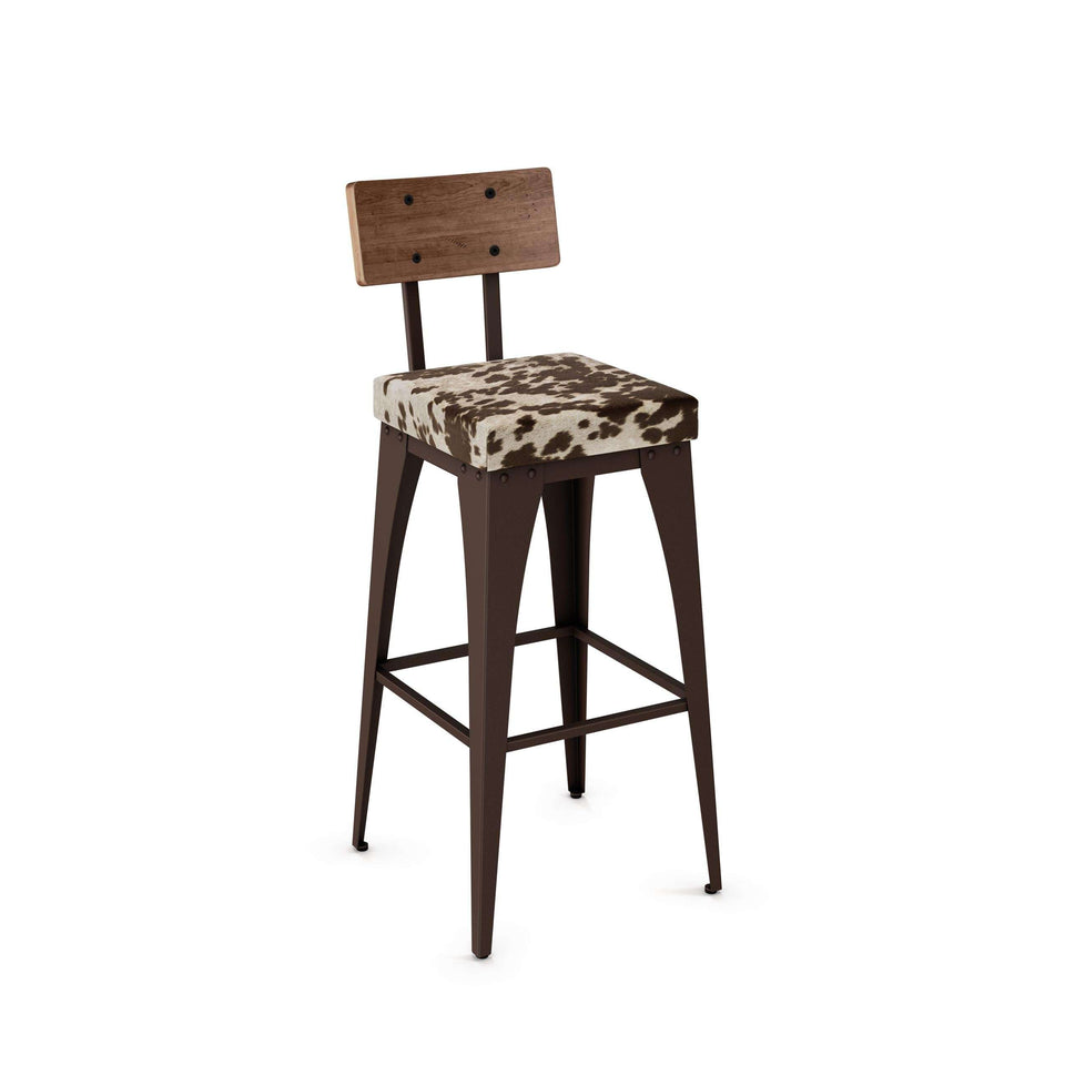 Upright Non Swivel Bar Stool with Upholstered Seat and Distressed Solid Wood Backrest