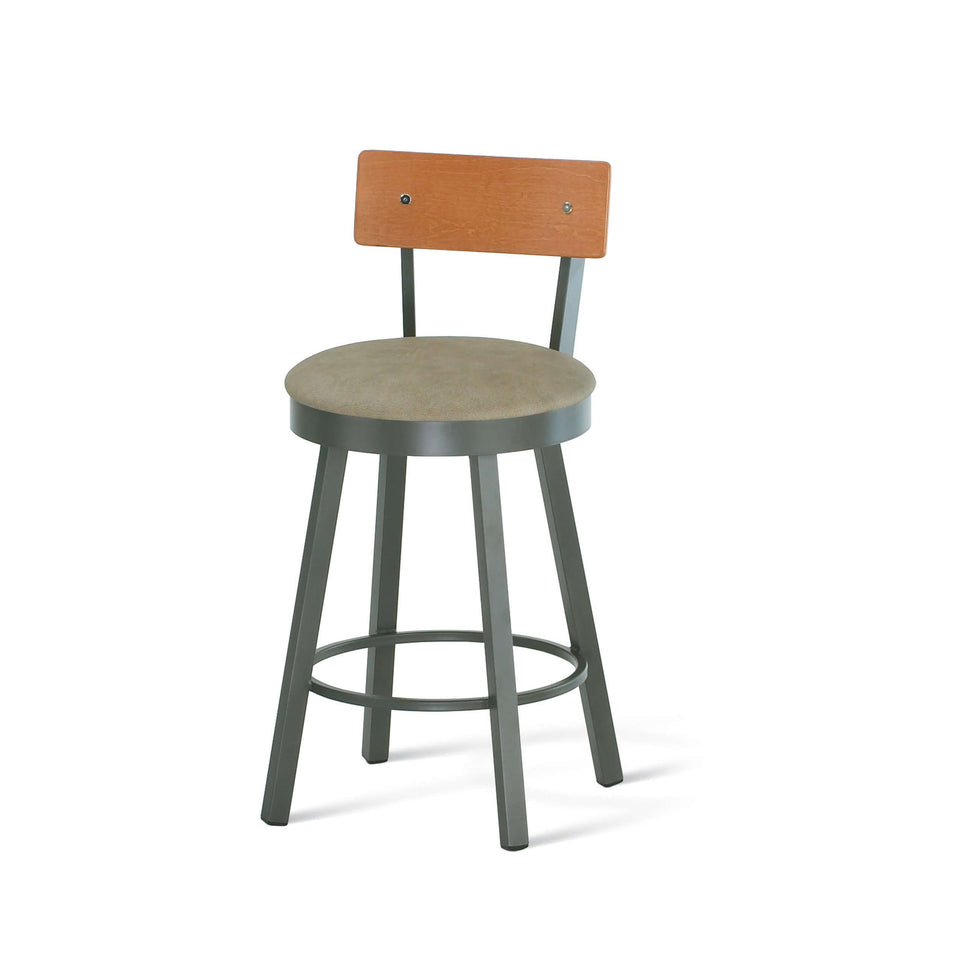 Amisco Lauren Swivel Counter Stool with Upholstered Seat and Wood Veneer Backrest