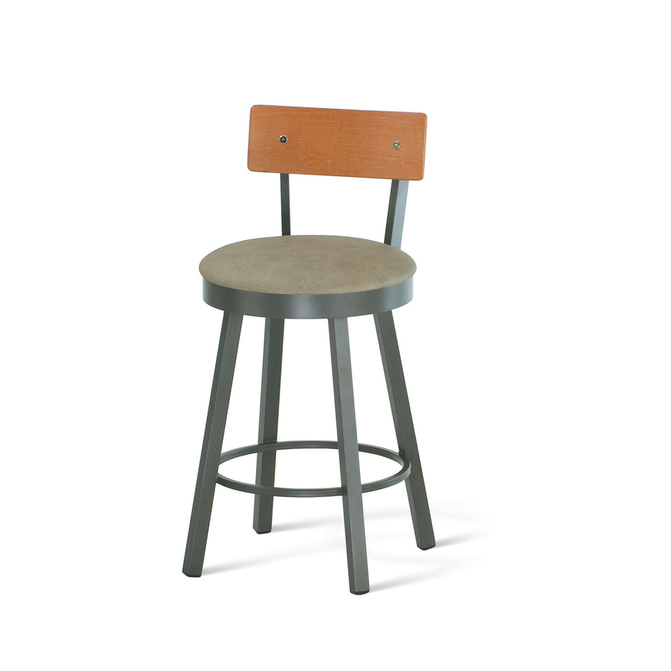 Amisco Lauren Swivel Spectator Stool with Upholstered Seat and Wood Veneer Backrest
