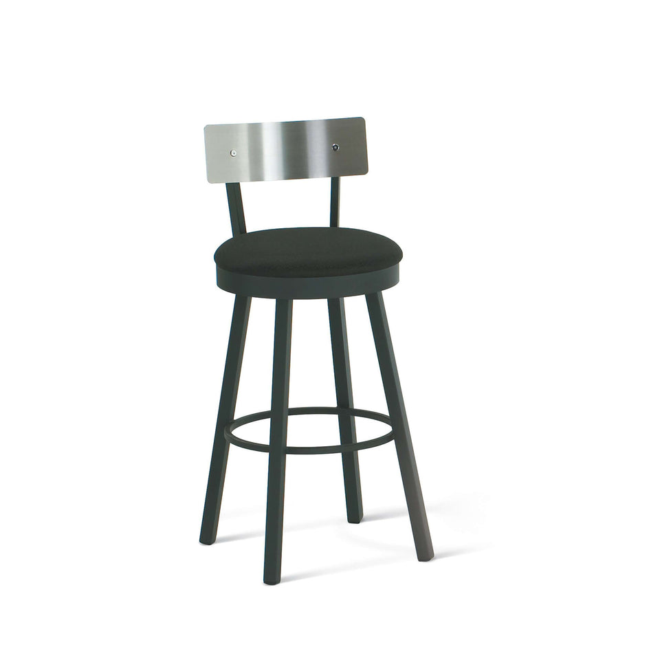 Amisco Lauren Swivel Spectator Stool with Upholstered Seat and Metal Backrest