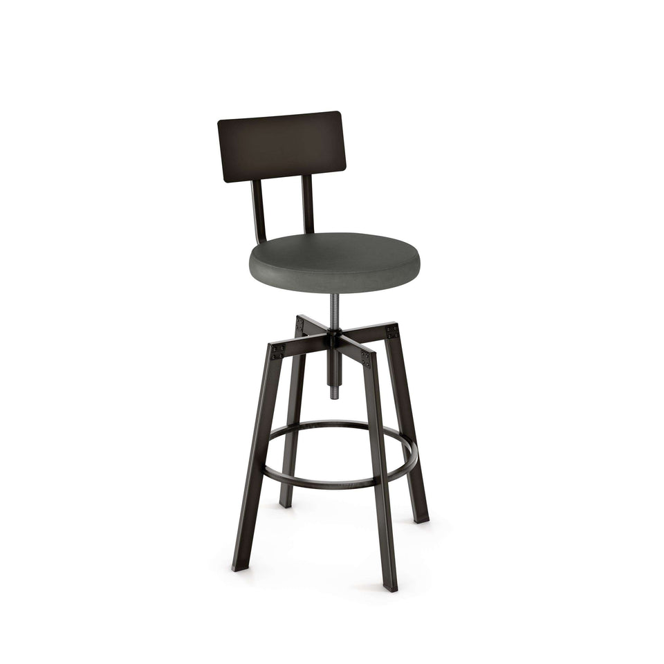 Amisco Architect Adjustable Stool with Upholstered Seat and Metal Backrest