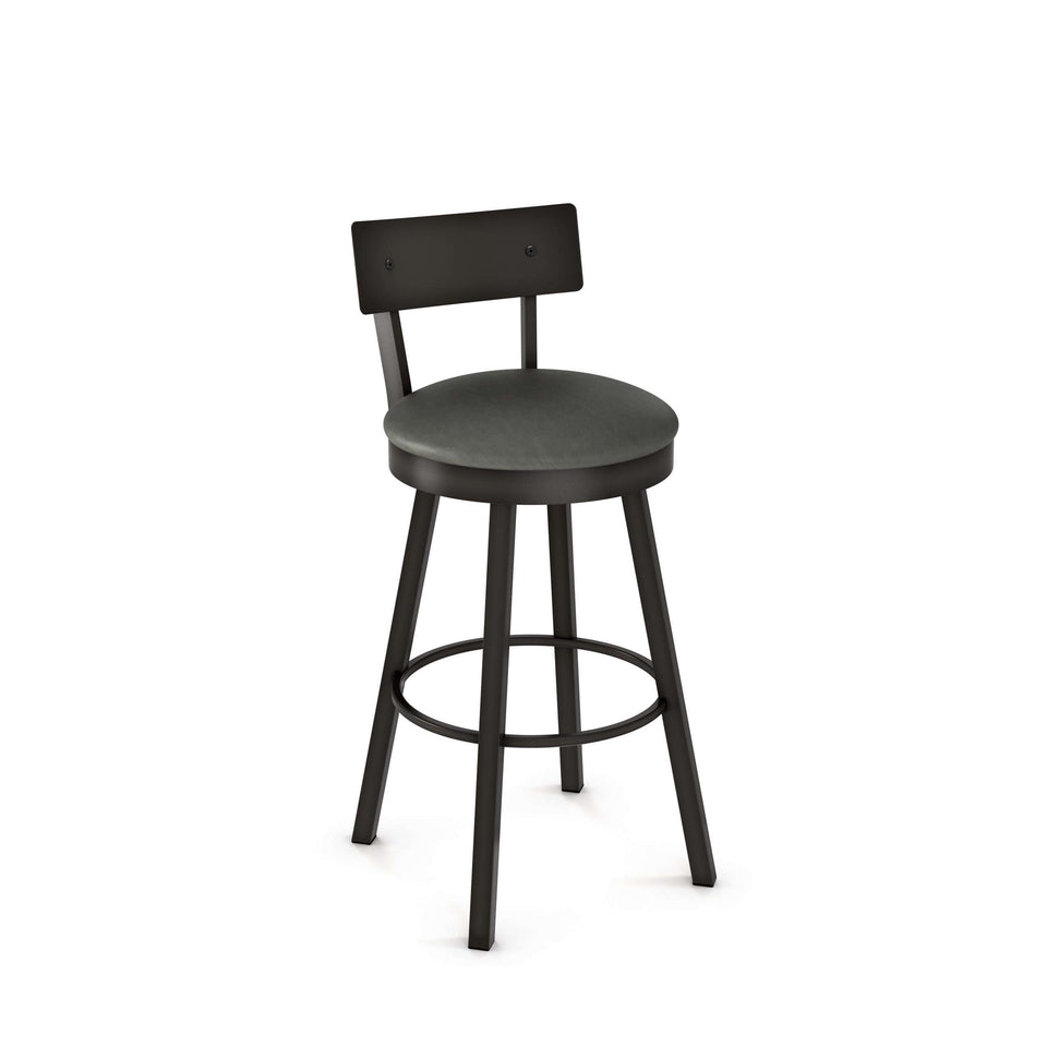 Amisco Lauren Swivel Bar Stool with Upholstered Seat and Metal Backrest