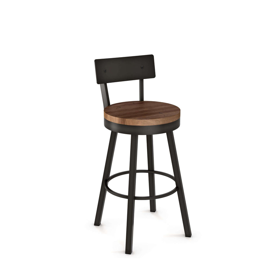 Amisco Lauren Swivel Bar Stool with Distressed Solid Wood Seat and Metal Backrest
