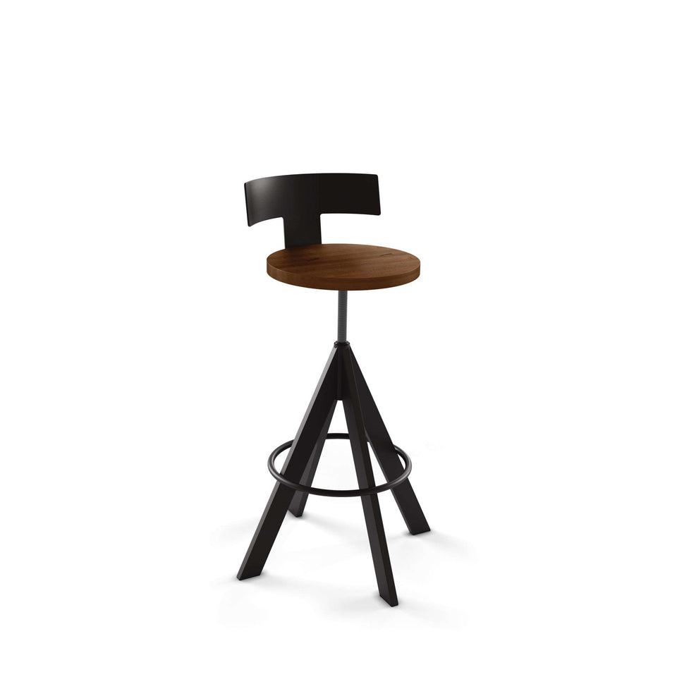 Uplift Screw Stool with Distress Solid Wood Seat and Metal Backrest