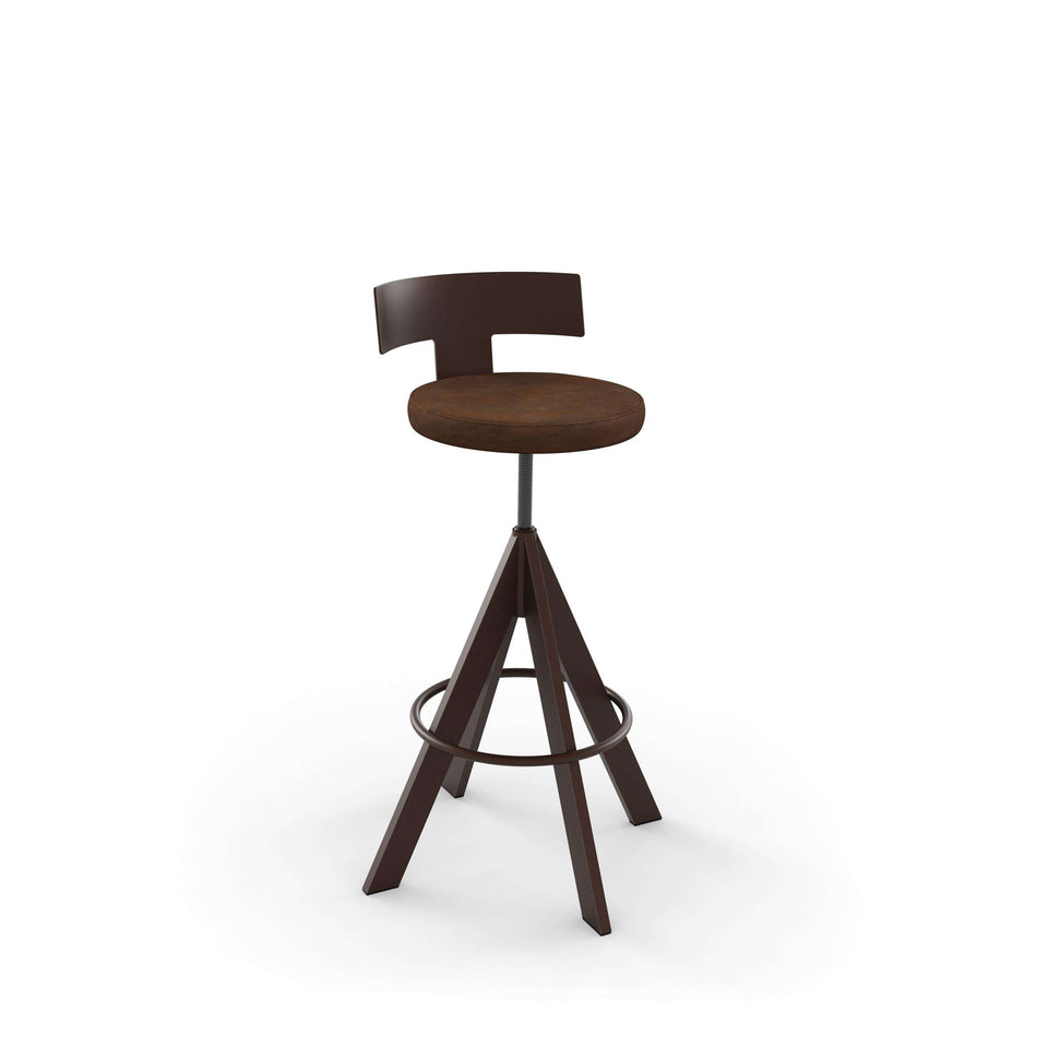Uplift Screw Stool with Upholstered Seat and Metal Backrest