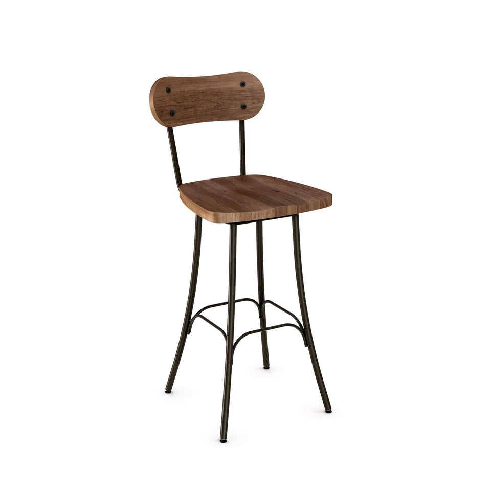 Bean Swivel Bar Stool with Distressed Solid Wood Seat and Backrest by Amisco