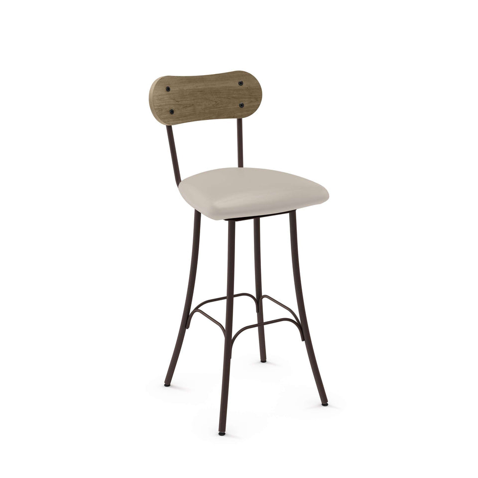 Bean Swivel Bar Stool with Upholstered Seat and Distressed Solid Wood Backrest by Amisco