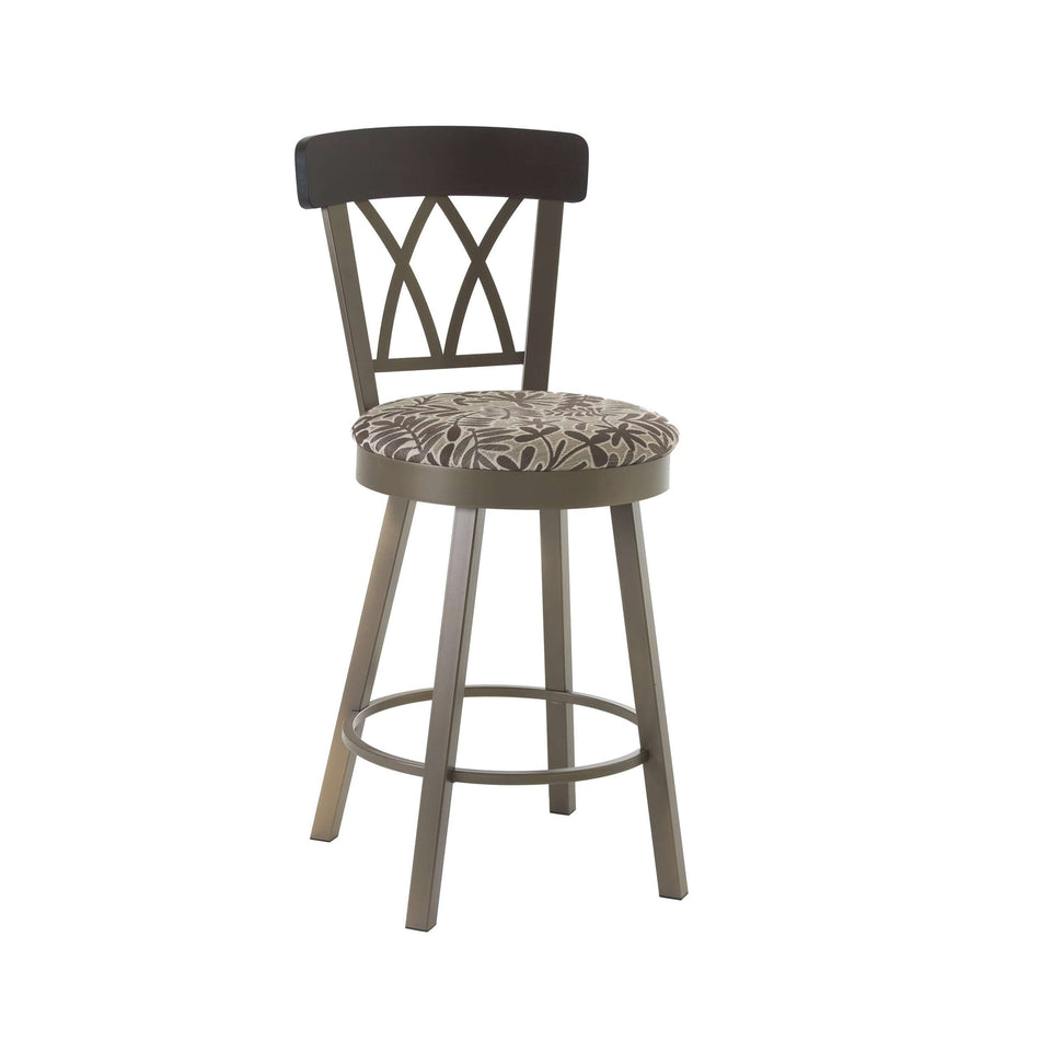 Amisco Brittany Swivel Bar Stool with Solid Wood Accent and Upholstered Seat
