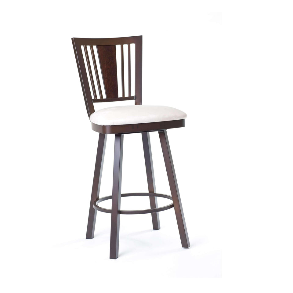 Amisco Madison Swivel Bar Stool with Wood Veneer Accent