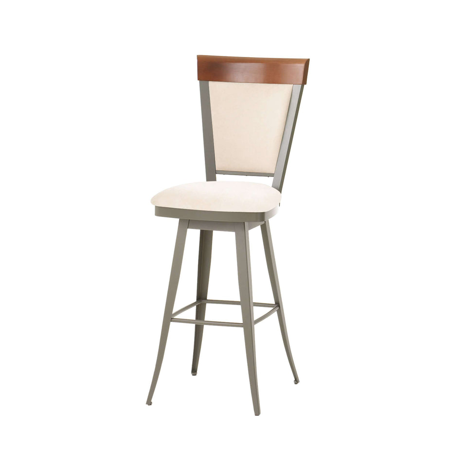 Eleanor Swivel Bar Stool with Upholstered Seat and Solid Wood Accent