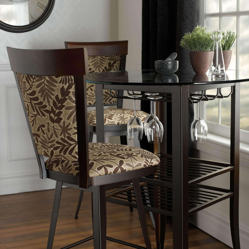 Eleanor Swivel Spectator Stool with Upholstered Seat and Solid Wood Accent