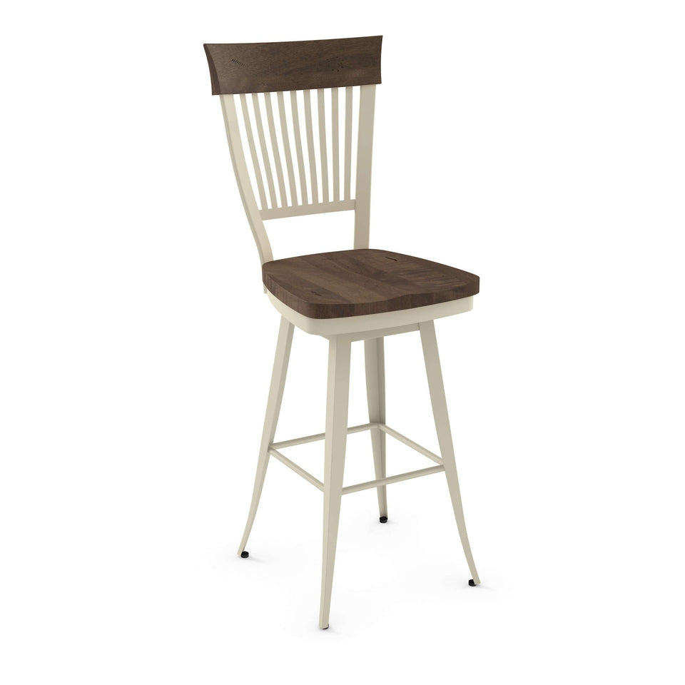 Annabelle Swivel Spectator Stool with Solid Wood Accent by Amisco