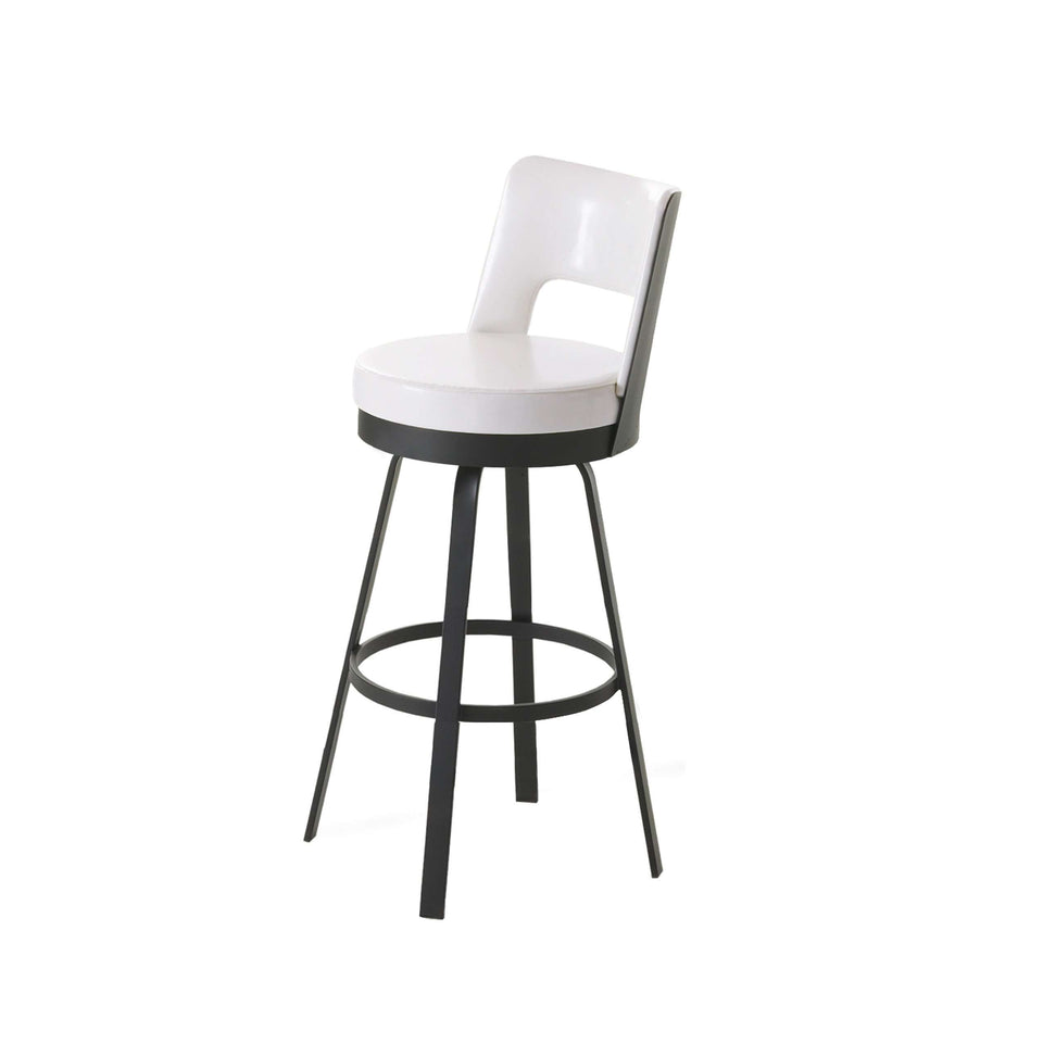 Amisco Brock Swivel Bar Stool with Upholstered Seat and Backrest
