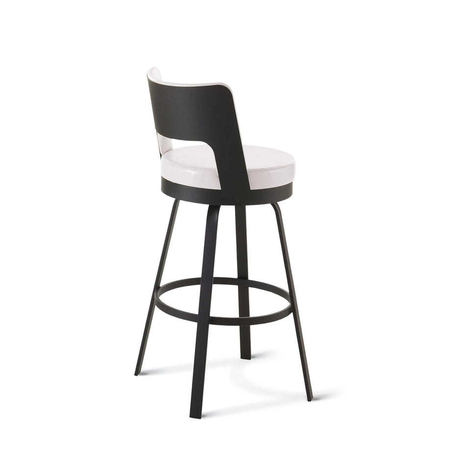Amisco Brock Swivel Spectator Stool with Upholstered Seat and Backrest