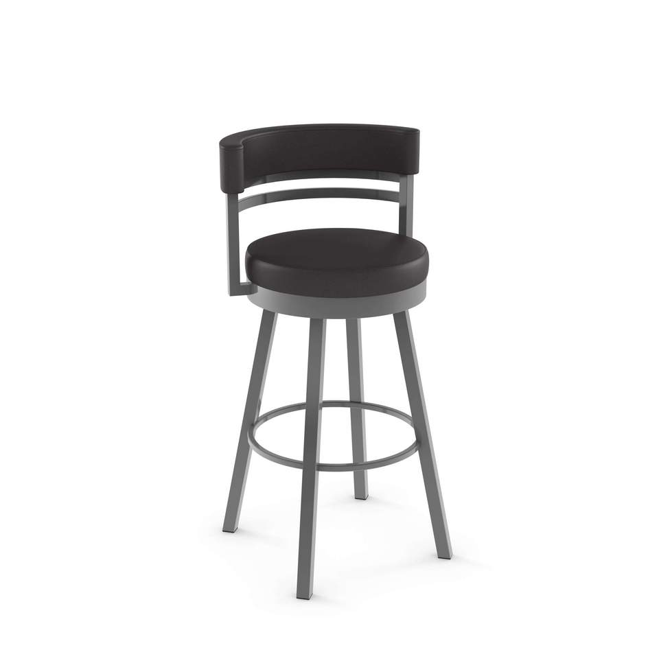 Ronny Swivel Bar Stool - Finish Options - Metal: 24 Magnetite | Cover: DA Ink