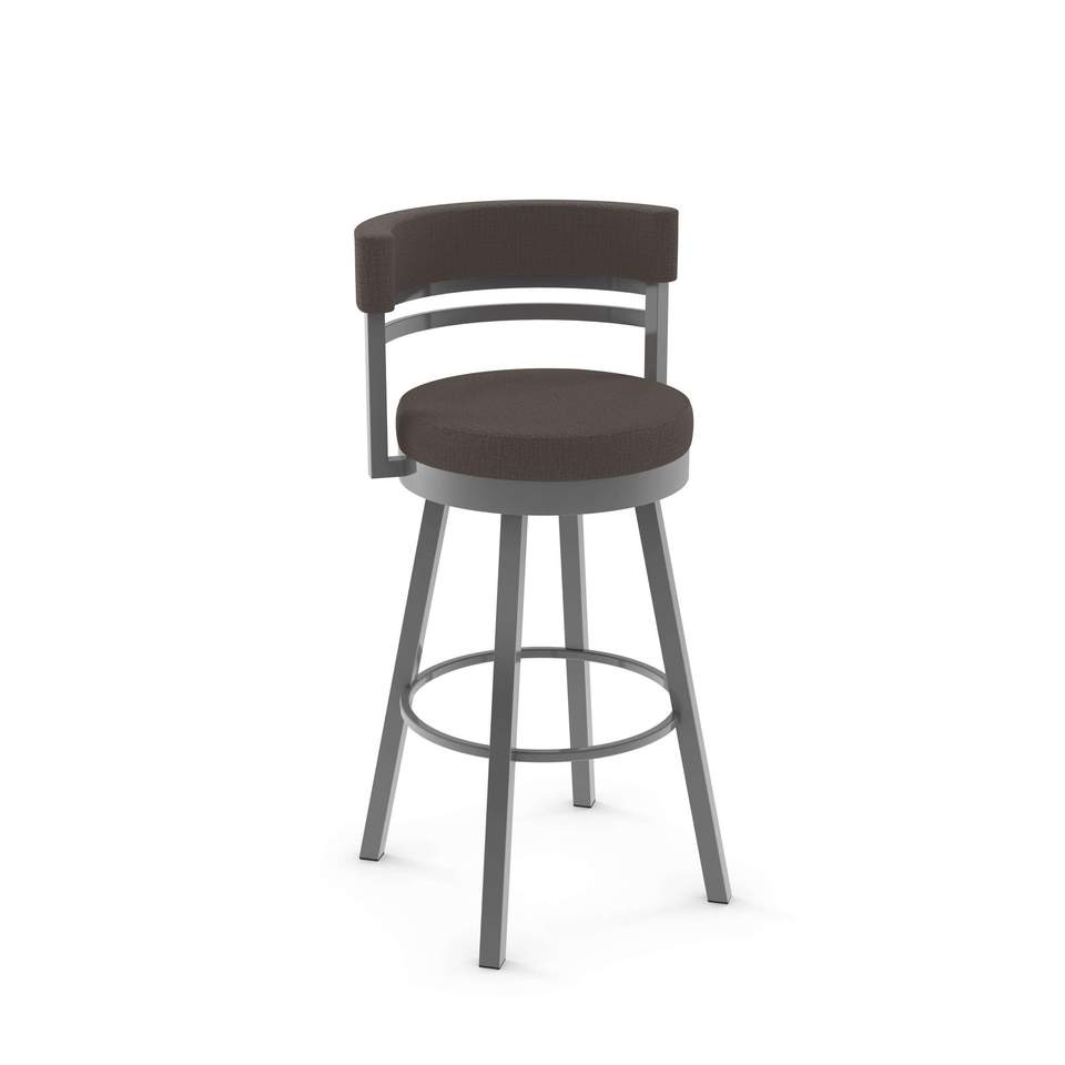 Ronny Swivel Bar Stool - Finish Options - Metal: 24 Magnetite | Cover: HD Slate