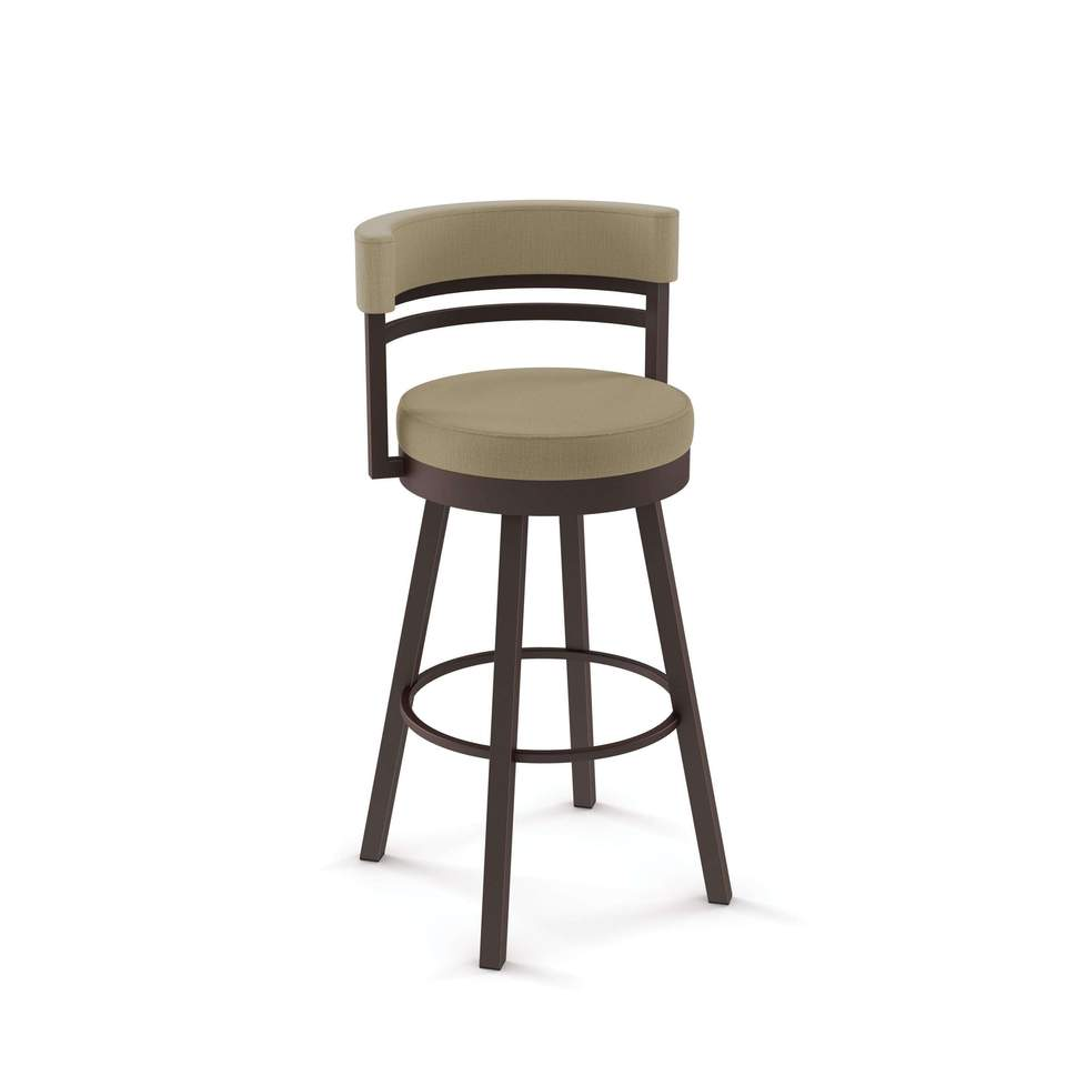 Amisco Ronny Swivel Spectator Stool with Upholstered Seat and Backrest