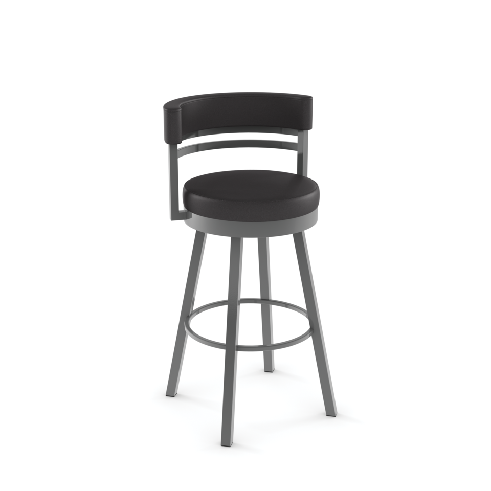 Amisco Ronny Swivel Counter Stool with Upholstered Seat and Backrest