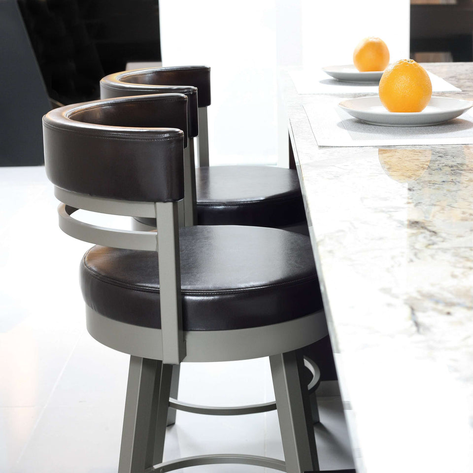 Ronny Swivel Spectator Stool with Upholstered Seat and Backrest