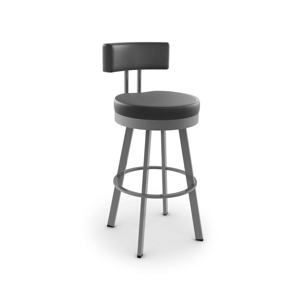 Amisco Barry Swivel Bar Stool with Upholstered Seat and Backrest