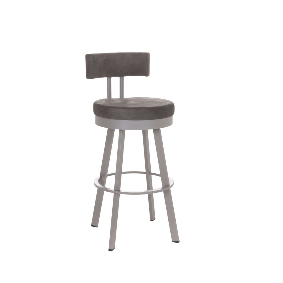 Amisco Barry Swivel Counter Stool with Upholstered Seat and Backrest
