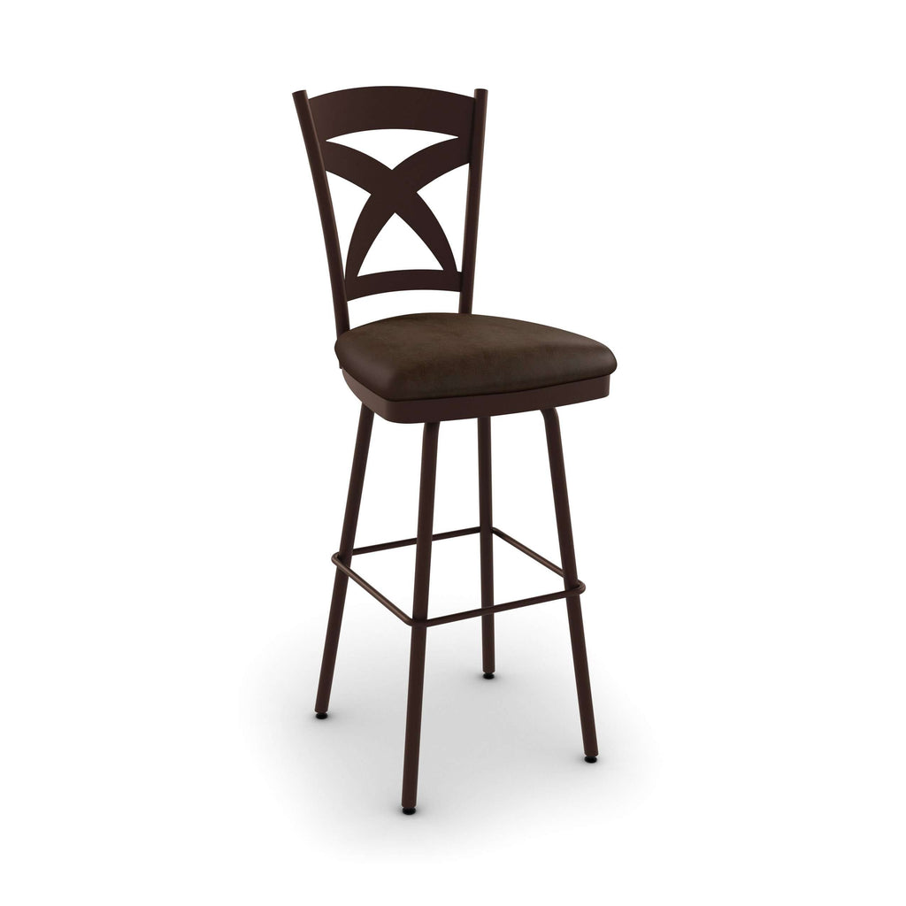 Amisco Marcus Swivel Counter Stool With Wood Accents And