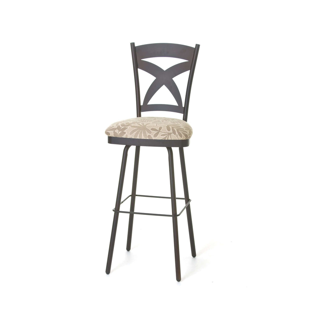 Amisco Marcus Swivel Spectator Stool With Wood Accents And