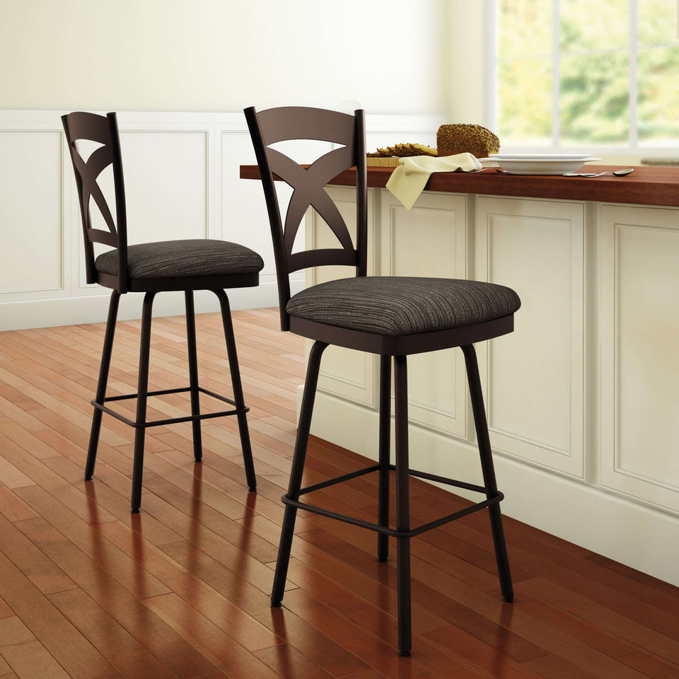 Amisco Marcus Swivel Spectator Stool with wood accents and tasteful colors