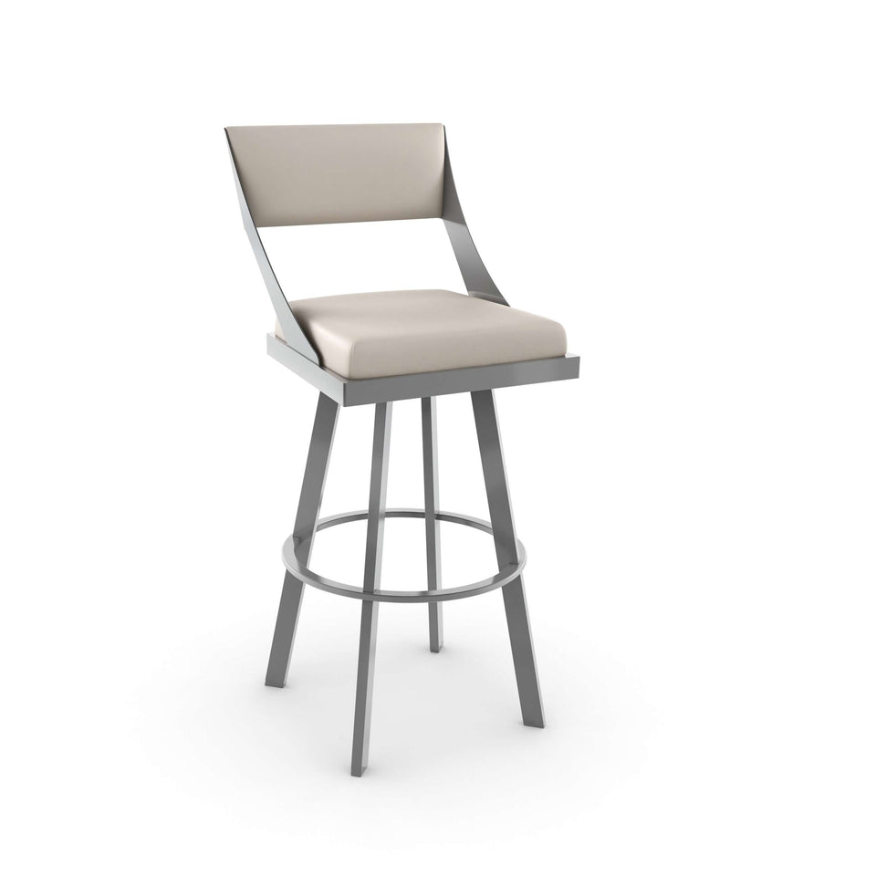 Fame Swivel Bar Stool with Upholstered Seat and Backrest