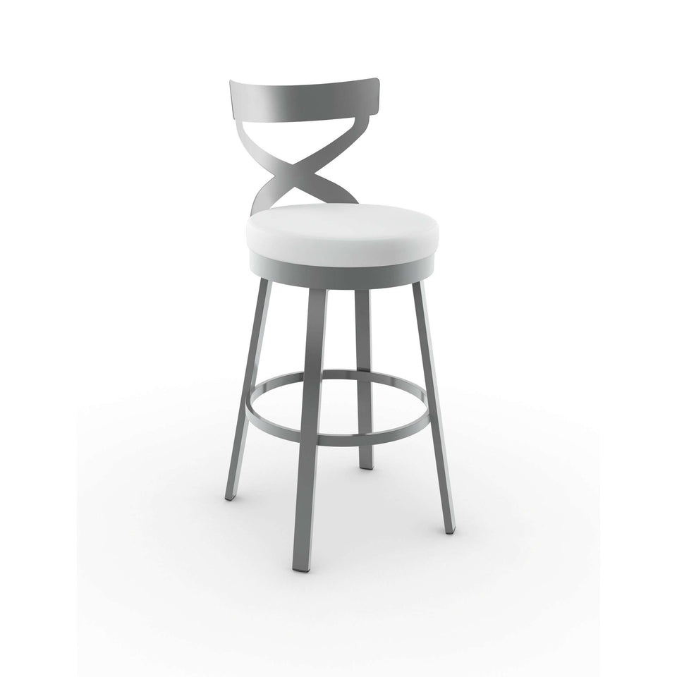 Amisco Lincoln Swivel Bar Stool with Upholstered Seat