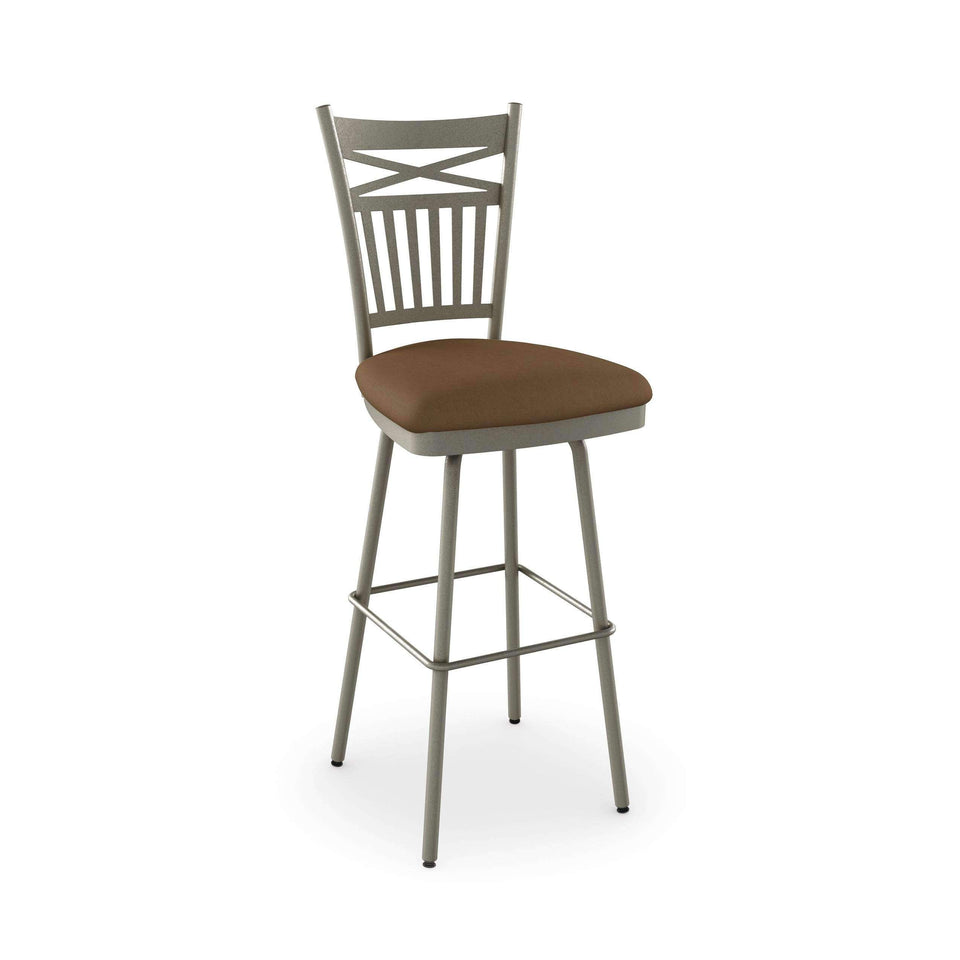 Garden Swivel Bar Stool with Upholstered Seat