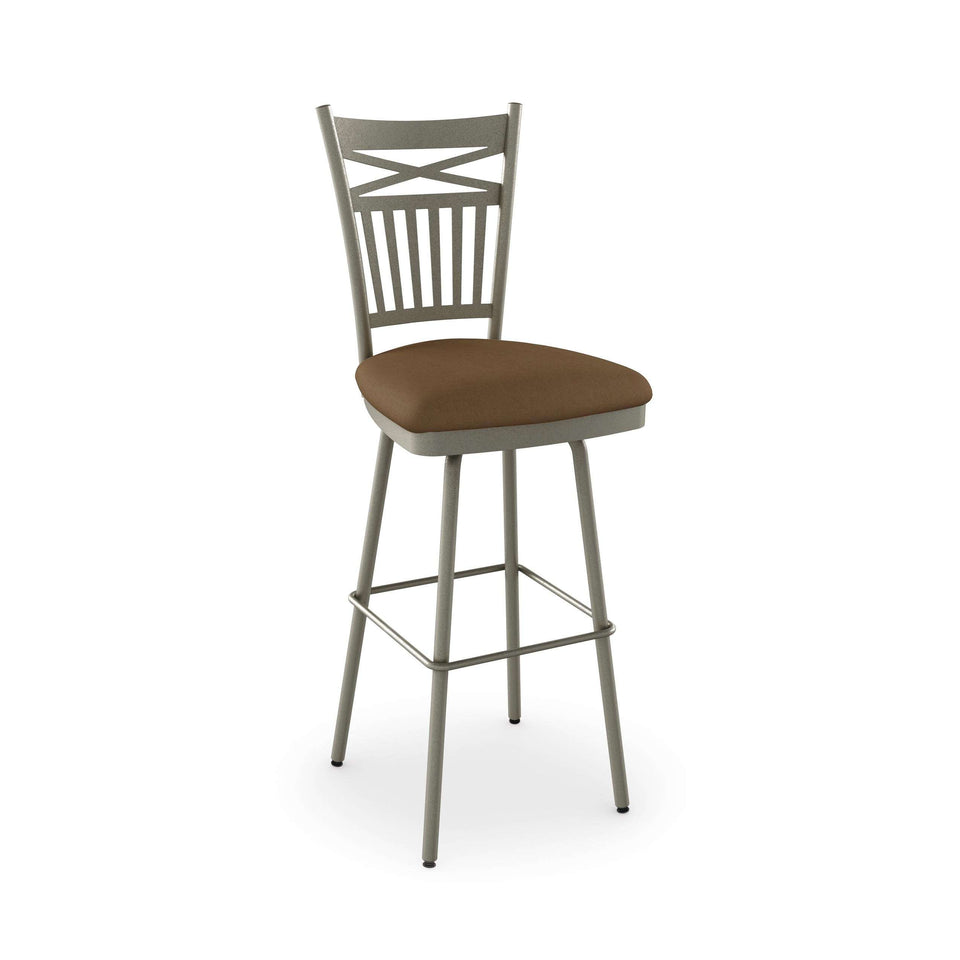 Garden Swivel Counter Stool with Upholstered Seat