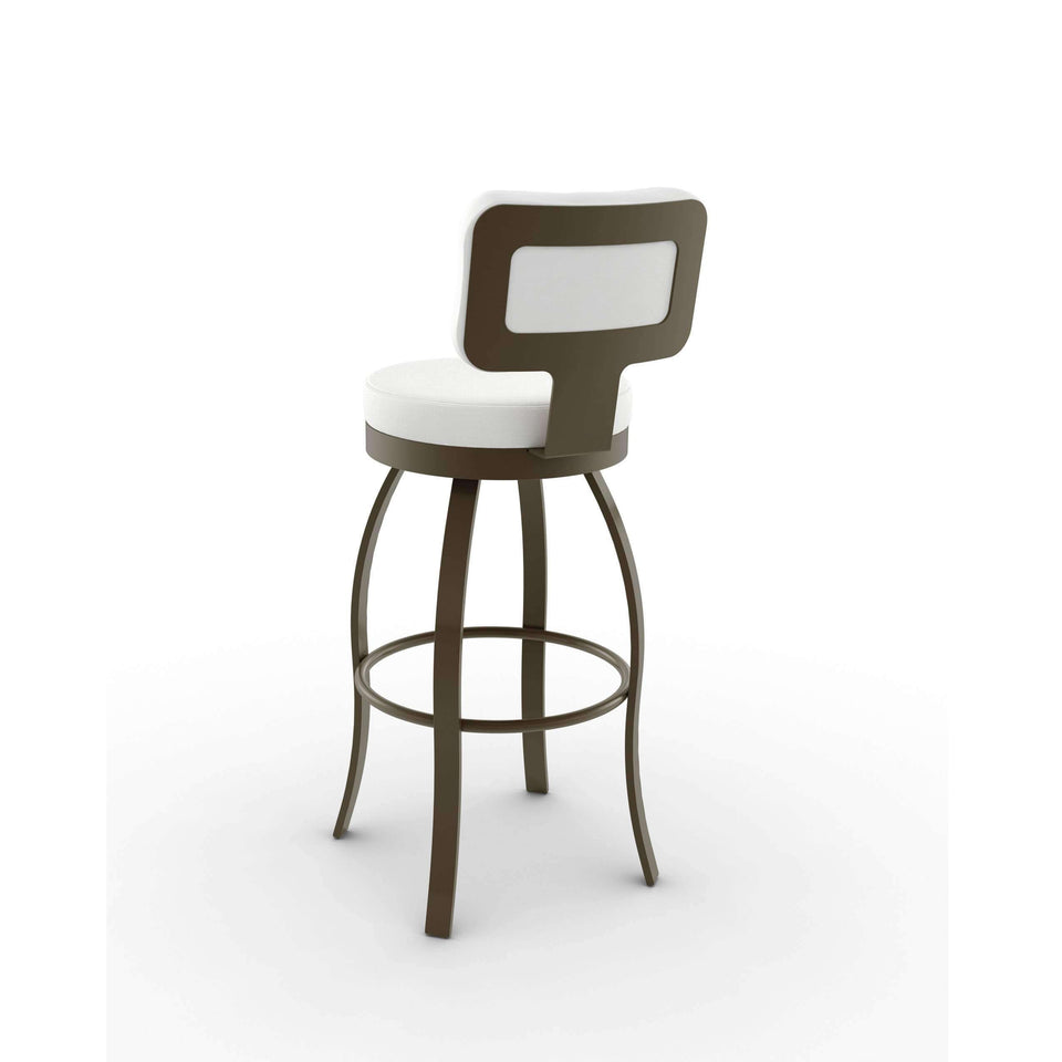 Swan Swivel Bar Stool with Upholstered Seat and Backrest