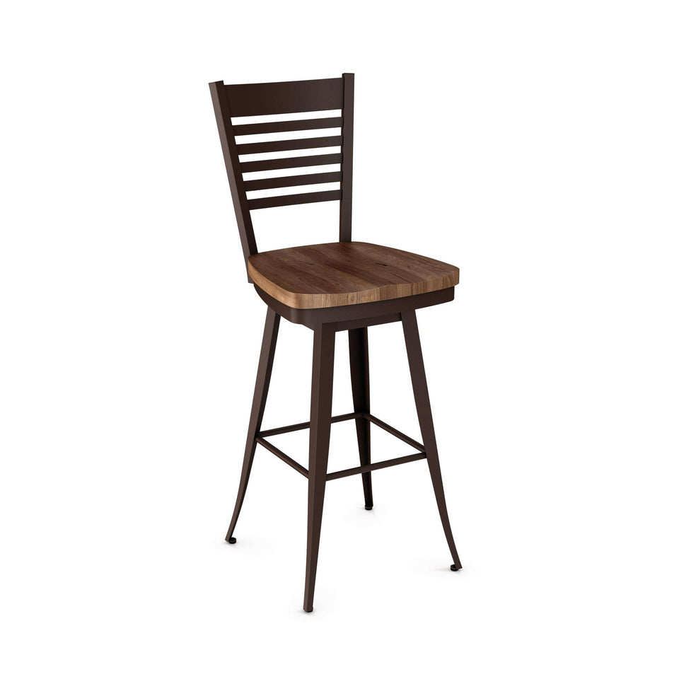 Edwin Swivel Spectator Stool with Distressed Solid Wood Seat