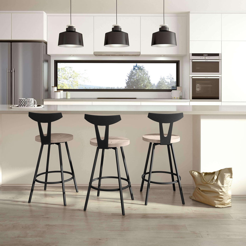 Hans Swivel Bar Stool with Distressed Solid Wood Seat and Metal Backrest