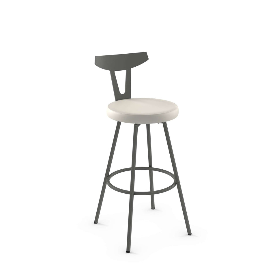 Hans Swivel Bar Stool with Upholstered Seat and Metal Backrest