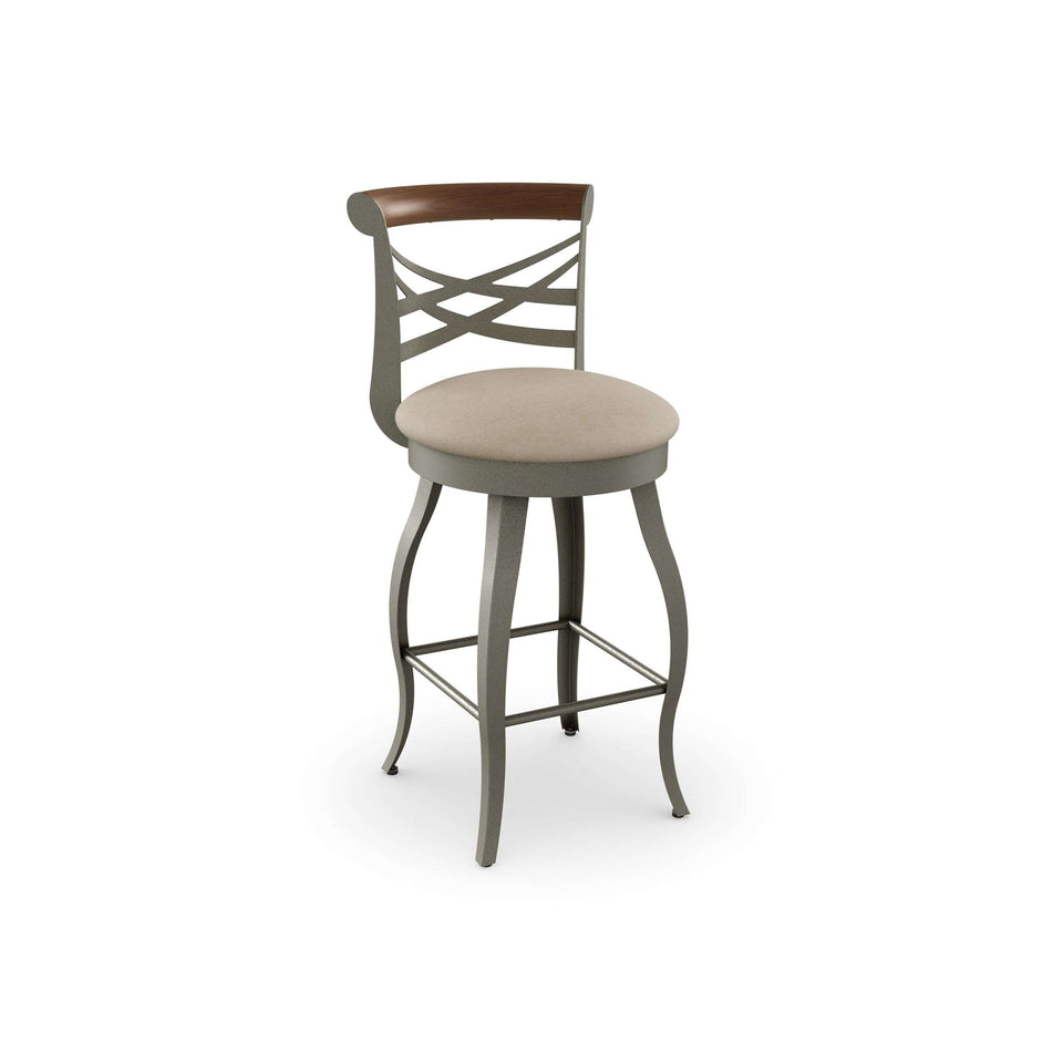 Whisky Swivel Counter Stool with Solid Wood Accent and Upholstered Seat